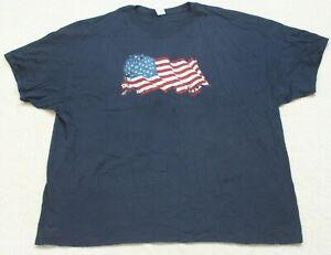 Gildan American Flag Blue White Red T-Shirt Top Tee 3XL Short Sleeve Men's XXXL
