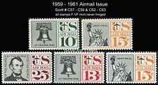 Scott # C57 C58 C59 C62 C63 1959 - 1961 Airmails Complete Set Mint NH