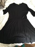 Lark & Ro Women's 3/4 Sleeve Fit-and-Flare Dress, Black Size LARGE