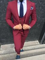 Slim Fit Herrenanzug in Rot mit Weste,-Smoking-Anzug-Hochzeit-Bühne-Sakko-Party
