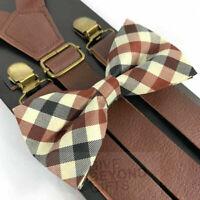 Wide Brown Leather Vintage Elastic Adjustable Clips-on Suspender + Bowtie Combo