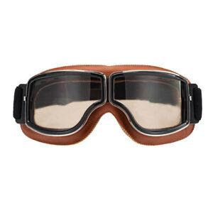 Anti-UV Motorcycle Goggles PU Leather Eyewear Lens Dirt Bike Riding ATV Glasses