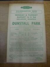 01/08/1960 Horse Racing Handbill: Western Region - Wolverhampton Races (Dunstall