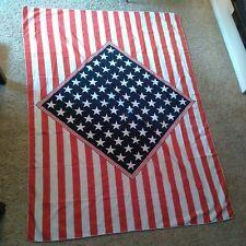 Vintage 1960's Tablecloth Stars & Stripes Patriotic USA American Flag Old Cotton
