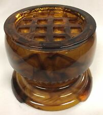 Vintage Davidson's English Amber Cloud Glass Vase with Frog and Plinth