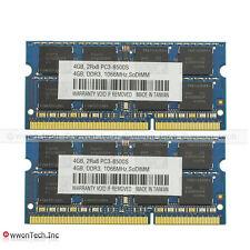New 8GB KIT 2x4GB PC3-8500S DDR3-1066MHz SODIMM Laptop Memory RAM Unbuffered CL7