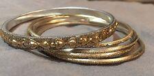 5 Bracelets Bangles Wrist Bands Gold Silver Metallic Thin Party Evening Dress