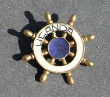 BRITISH INDIA P&O LINE SS RMS UGANDA GILT METAL SOUVENIR BADGE BOUGHT ONBOARD