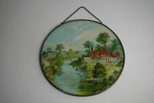 Vintage Glass Chimney Flue Cover Landscape w/River, Houses & Boats w/chain