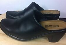 NAOT Black Leather Women's Heel Mules Clogs Shoes Size Sz Euro 38  US 7