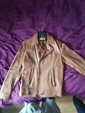 Reiss Tan Leather Biker Jacket S/M