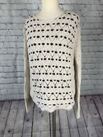 Anthropologie Willow And Clay Womens Loose Knit Pull Over Cream Sweater Small