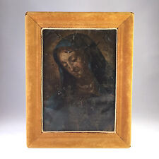 Antique Continental Oil on Copper Icon Painting of Virgin Mary, 18th-19th C.