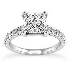 Solitaire 1.22 Carat Princess Cut Diamond VS2/H Engagement Ring 14K White Gold