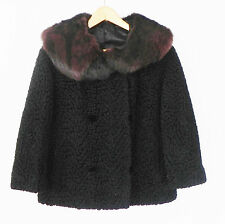 Vtg Persian Curly Lamb's Wool Jacket Double Breasted Fur Collared Size M/L