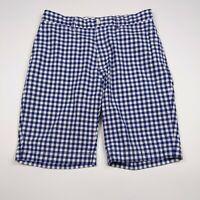 Mens Polo Ralph Lauren Size 31 Blue Check Flat Front Cotton Casual Shorts