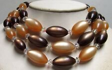 Vintage 50's Plastic Lucite Moonglow Bead Necklace Multi 3 Strand Brown Tan