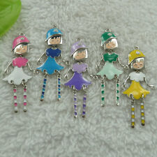 free ship 52 pieces alloy enamel mixed colors girl charms pendant 62x26mm #4493