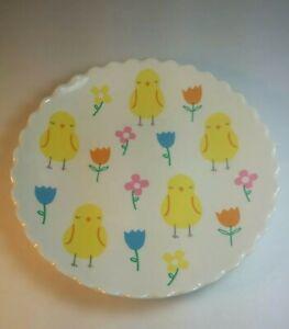 "Meri Meri Magenta Easter 8"" Round Melamine Plate Chicks & Flowers"