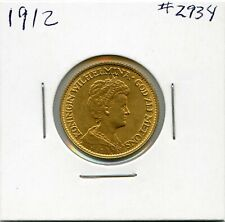 1912 Gold Netherlands 10 Gulden Coin. Circulated. Lot #2728