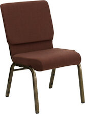 18.5'' WIDE BROWN FABRIC STACKING CHURCH CHAIR  - GOLD VEIN FRAME