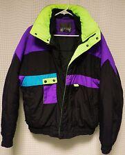 vtg Ski Jacket 80s 90s Mens M winter gear snow coat color block turquoise NEON