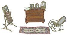 "8 Pc Vtg 6"" Dollhouse Miniature Furniture Bible Chair Mirror Dresser Birdcage"