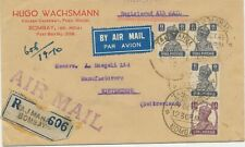 INDIA 1945 King George VI 1/2A + 8A (3x) mixed postage VF R-Airmail WINTERTHUR