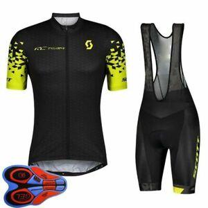 Breathable Mens Cycling Jersey Bib Shorts Set New Bike Outfits Bicycle Uniform