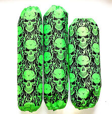 Shock Covers Kawasaki KFX 450R Neon Green Skulls 450 R ATV Set of 3