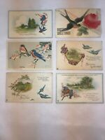 Vtg Lot of 6 1907-20's BLUEBIRD Birthday Wishes Easter Greetings Postcards