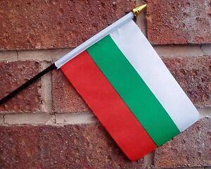 "BULGARIA SMALL HAND WAVING FLAG 6""X4"" flags BULGARIAN"