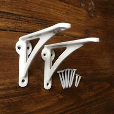 "Pair White 4.5"" ANTIQUE HEAVY CAST IRON VICTORIAN SHELF WALL BRACKETS - BR23wx2"