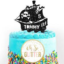 Customised Pirate Cake Topper, Personalised Birthday cake custom age name ship