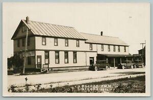 Oscoda Michigan~Oscoda Inn Hotel~Coffee Shop~Parked Went to Bed~Cars~1923 RPPC
