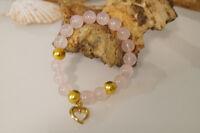 Damenarmband Armband Edelsteine handgefertigt Rosenquartz