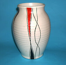 H.J.Wood Ltd - Vintage Hand Decorated On Ribbed Body Attractive Vase - Stamped.