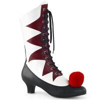 Funtasma IT-120 Womens White Burgundy Pu Kitten Heel Lace-Up Front Mid-Calf Boot