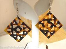 Oceania Natural Blonde Faux Tortoiseshell Square-Diamond Dangle Hook Earrings #6
