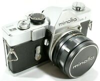 Minolta SR-1 SLR 35mm Film Camera with Rokkor PF 55mm f2 Lens UK Fast Post
