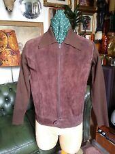 Vintage 60s 70s Leather Suede Cardigan Jacket.Acid Jazz Mod Northern Soul.Medium