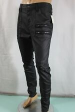 G BY GUESS JEANS NEW MEN'S SKINNY SZ 36 COATED MOTO BLACK STRETCH 100%AUTHENTIC