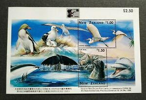 1996 New Zealand China Stamp Exhibition Birds Whale Dolphin Seal Penguin MS MNH