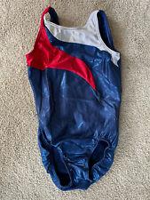 MotionWear Gymnastics Leotard Girl's Child Large Cl Bodysuit Red white blue