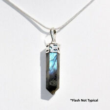 "Faceted Madagascar Labradorite Crystal Point Pendant + 20"" Silver Chain WOW!"