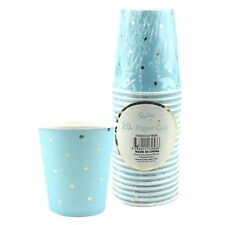 20PK BLUE GOLD CUPS 200ML BABY SHOWER PARTY POLKADOT PAPER BEVERAGE DRINKING BOY
