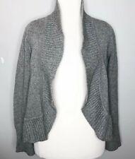 Talbots Cashmere Knit Ruffled Trim Open Cardigan Sweater Gray Petite M