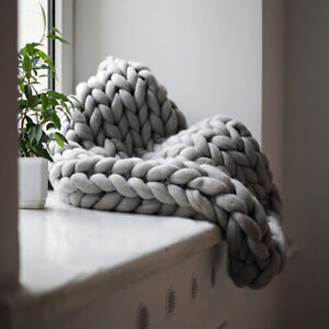 LUXURY CHUNKY CABLE KNIT HAND-WOVEN SOFA BED CHAIR BLANKET THROW