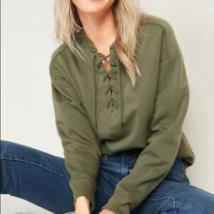 Old Navy Lace Up Crew Neck Sweatshirt Fleece Olive Green Top Size XL or XXL NEW
