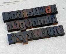 "A-Z alphabet 2.13"" letterpress wooden printing blocks wood type Vintage Retro"